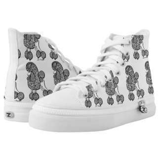 Paisly Poodle Hightop shoes Printed Shoes