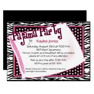Pajama Party In Black and Pink Dots 13 Cm X 18 Cm Invitation Card