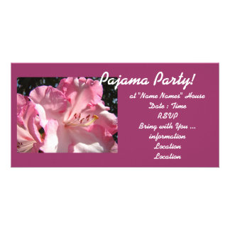 Pajama Party! invitations cards Pink Rhodies Girls Personalised Photo Card