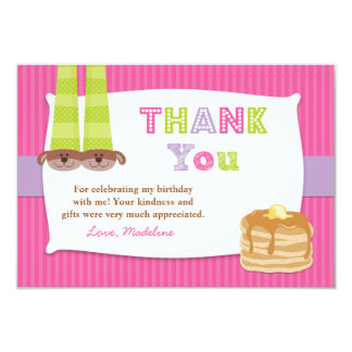 Pajamas and Pancakes Birthday Party Thank You 9 Cm X 13 Cm Invitation Card