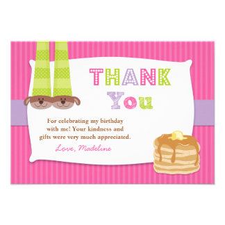 Pajamas and Pancakes Birthday Party Thank You Personalized Announcements
