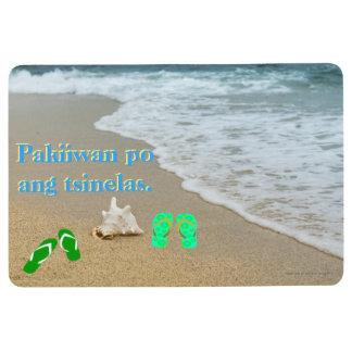 """Pakiiwan po ang tsinelas """"Beach seashore"""" Floor Mat"""