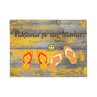 "Pakiiwan po ang tsinelas ""vintage yellow wood"" doormat"