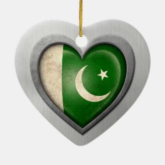 Pakistani Heart Flag Stainless Steel Effect Ceramic Heart Decoration