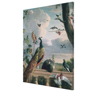 Palace of Amsterdam with Exotic Birds Canvas Print