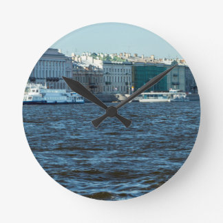 palaces on neva river St Petersburg Russia Round Clock