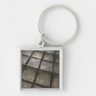 Palacio de Communicaciones, glass flooring Silver-Colored Square Key Ring