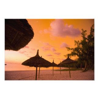 Palapa style beach huts at sunrise Belle Mare 2 Photo Print