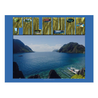 "Palawan ""cool scenic spots and texts"" postcard"