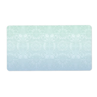Pale Aqua and Periwinkle Muted Vintage Lace Theme Shipping Label