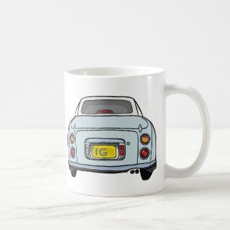 Pale Aqua Nissan Figaro Car Mug, Custom Initials Coffee Mug