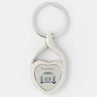 Pale Aqua Nissan Figaro Custom Heart Key Ring Silver-Colored Twisted Heart Key Ring