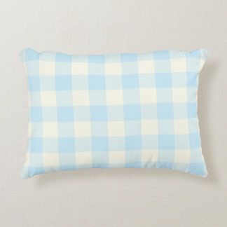 Pale Aquamarine Blue Gingham Pattern Accent Pillow