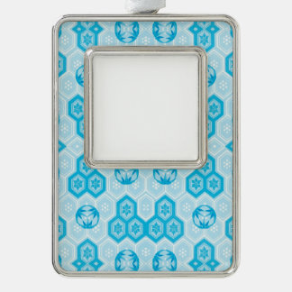 Pale Blue and Brighter Blue Geometric Floral Silver Plated Framed Ornament