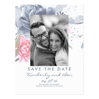 Pale Blue and Dusty Pink Floral Save the Date Postcard