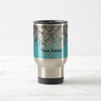 Pale blue and faux glitter mugs