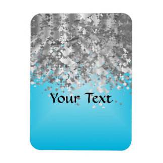 Pale blue and faux glitter rectangular magnets