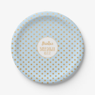 Pale blue and gold dot boy baby shower theme paper plate