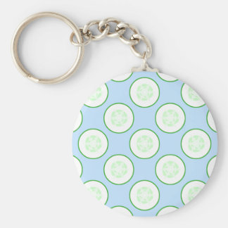 Pale Blue and Green Cucumber Pattern. Key Ring