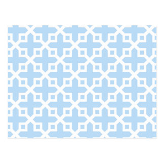 Pale Blue and White Cross Section Pattern Post Card