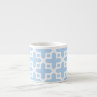 Pale Blue and White Cross Section Pattern Espresso Mug