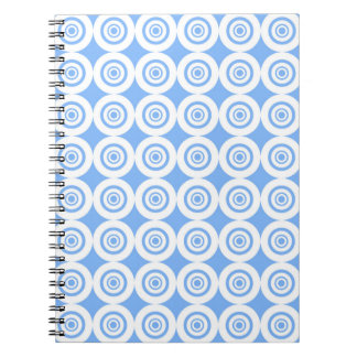 Pale Blue and White Geometric Pattern Circles Spiral Notebook