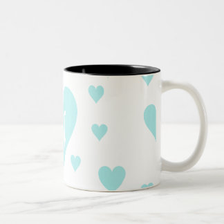 Pale Blue and White Hearts Monogram Mugs