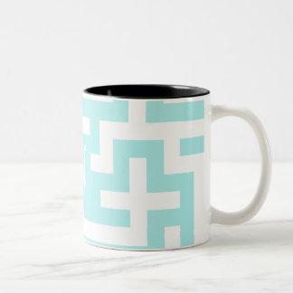 Pale Blue and White Maze Monogram Mug
