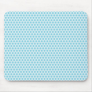 Pale blue and white polka dots dot pattern mouse pad