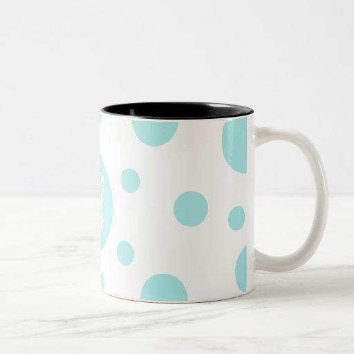 Pale Blue and White Polka Dots Monogram Mugs