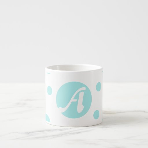 Pale Blue and White Polka Dots Monogram Espresso Cup