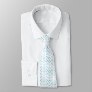 Pale Blue and White Small Abstract Floral Tie