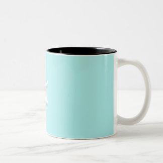 Pale Blue and White Sunrays Monogram Coffee Mug
