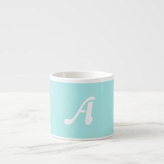 Pale Blue and White Sunrays Monogram Espresso Mugs