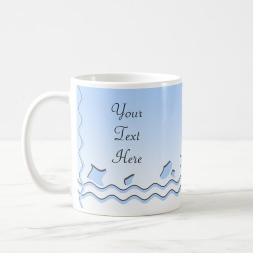 Pale Blue and White Wave Pattern. Mugs