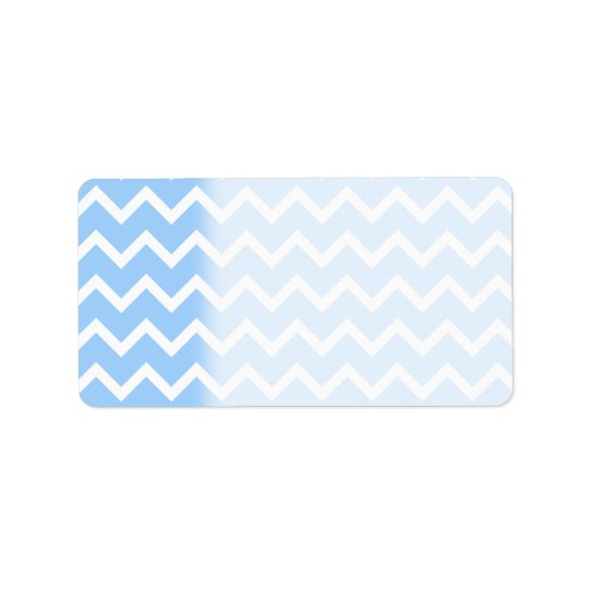 Pale Blue and White Zig zag Stripes. Address Label