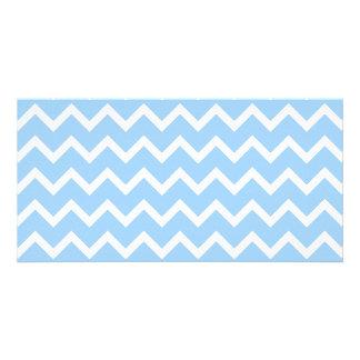 Pale Blue and White Zig zag Stripes. Custom Photo Card