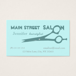 Pale Blue Beauticians Hair Cutting Scissors Business Card