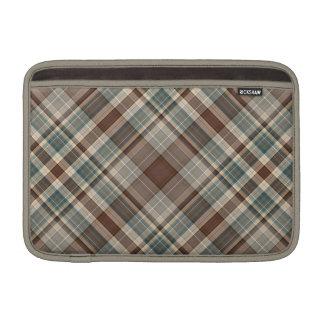 Pale blue, beige and brown tartan MacBook sleeve