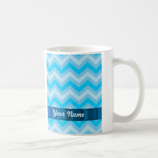 Pale blue chevrons basic white mug