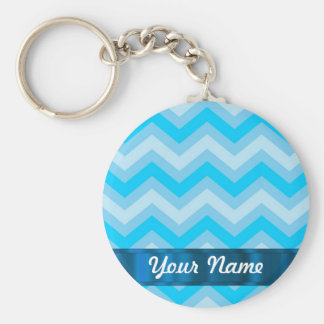 Pale blue chevrons key ring