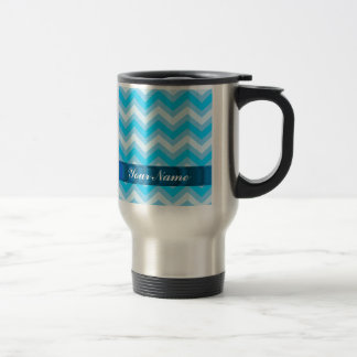 Pale blue chevrons stainless steel travel mug