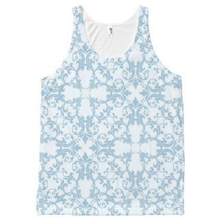Pale Blue Damask All-Over Print Tank Top