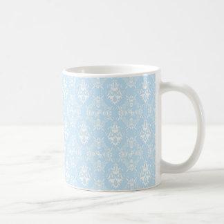 Pale Blue Damask Pattern Basic White Mug