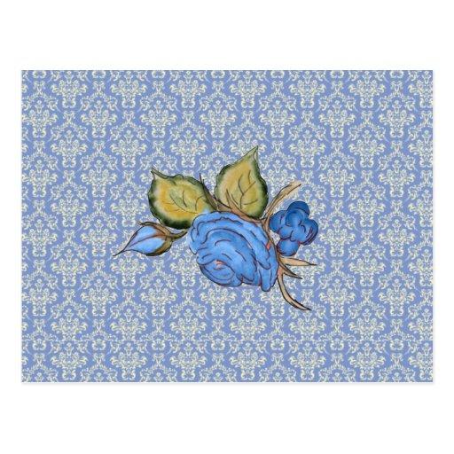 Pale Blue damask Post Card
