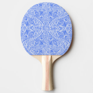 Pale Blue Floral Twists Ping Pong Paddle