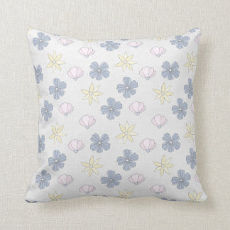 Pale Blue Flowers, Flowered Back Cushion