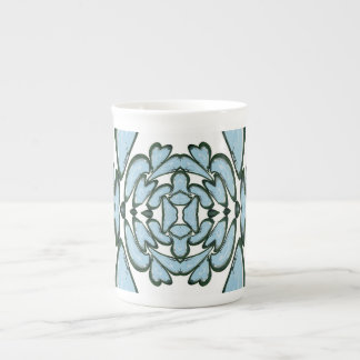 Pale Blue Fractal Flower Mug Bone China Mug