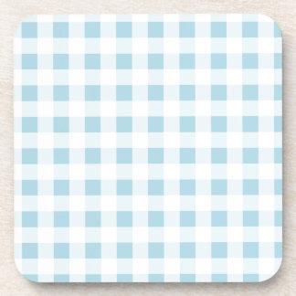 Pale Blue Gingham Beverage Coaster
