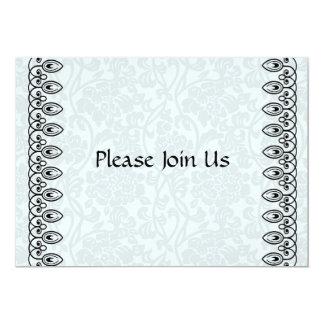 "Pale Blue Gray Damask Invitation 5"" X 7"" Invitation Card"